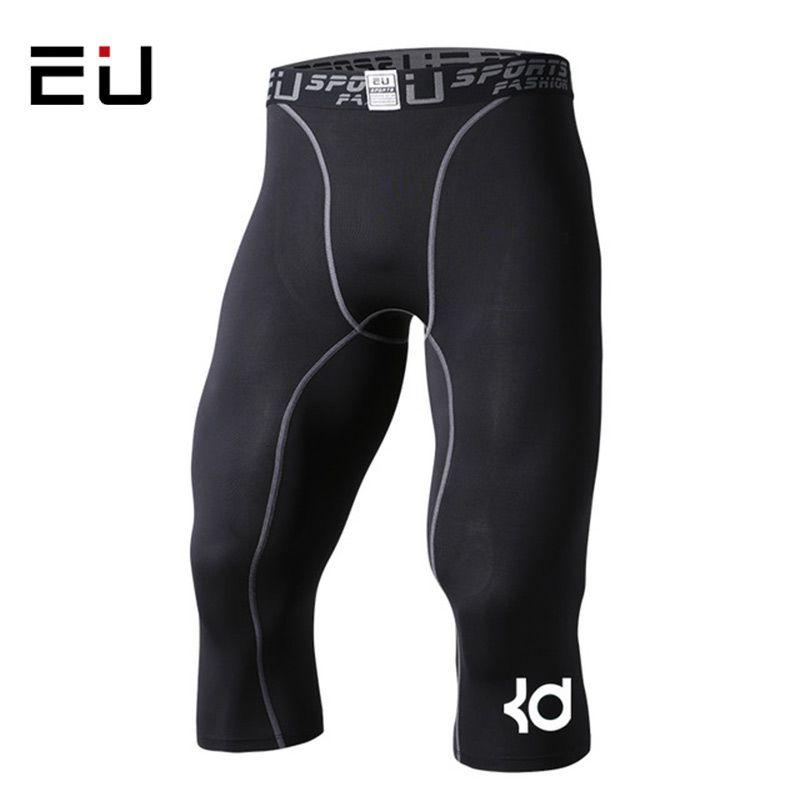 Hommes Compression collants 3/4 Shorts sport serré noir Fitness course basket court Jogging Leggings Slim Fit course Shorts
