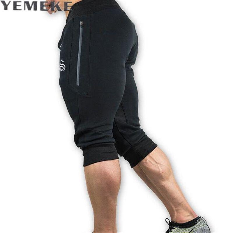 YEMEKE 2017 Hot sales Summer mens Leisure Calf length Cropped pants Man Drawstring Joggers Baggy streetwear Thin 2XL