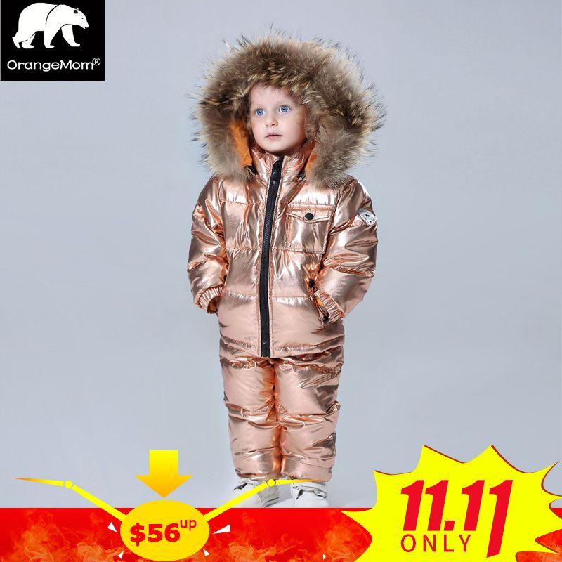 Russian winter snowsuits 2018 baby boy winter children girls duck down coats overalls clothing set jacket, children's clothing