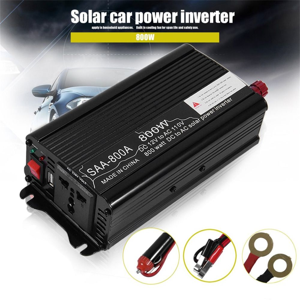800/1000/1500W Car Aluminum Alloy DC12V To AC110V Auto Power Inverter High Converting Efficiency Charger Converter Transformer