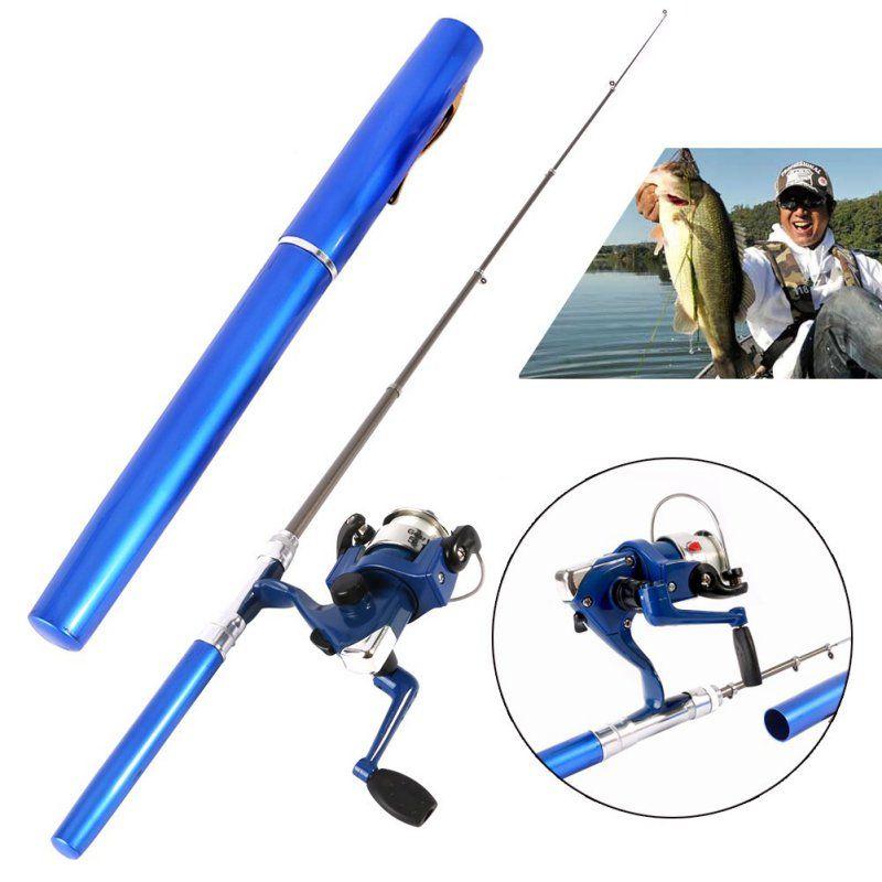 Mini Camping en plein air voyage Baitcasting télescopique poche stylo forme canne à pêche + bobine + ligne de pêche