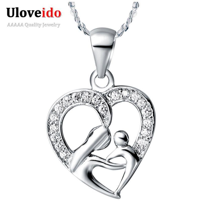 Uloveido 10% Off Muttertag Geschenke für Mama Silber Farbe halskette Mode Halsketten & Anhänger für Frauen Mädchen Freies Verschiffen N595