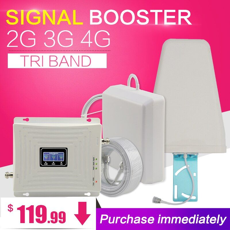 GSM 900 1800 <font><b>WCDMA</b></font> 2100 Tri-Band Booster 2G 3G 4G LTE 1800 70dB Mobile Cellular Signal Amplifier Cell Phone Repeater for Europe