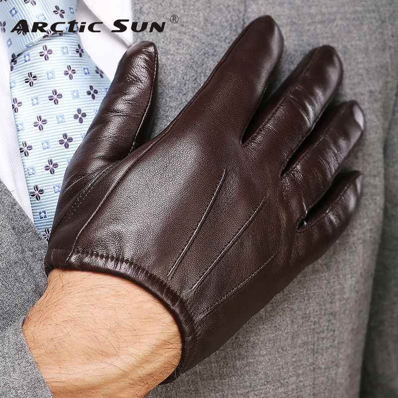 2018 Top Fashion Men Genuine Leather Gloves Wrist Sheepskin Glove For Man Thin Winter Driving Five Finger Rushed M017PQ