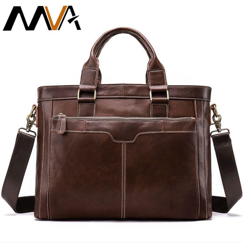 MVA Briefcase Male Bags Messenger Bag Men's Genuine Leather Men's Business Laptop Handbag Men for Documents Satchel Men Bag 8525