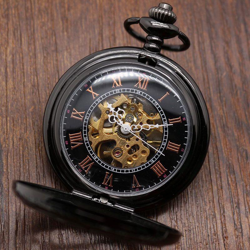 Роскошные стимпанк карманные часы Relogio de Боло Винтаж черный/Серебряный полукруг Механический ручной взвод карманные часы Сеть подарки fob