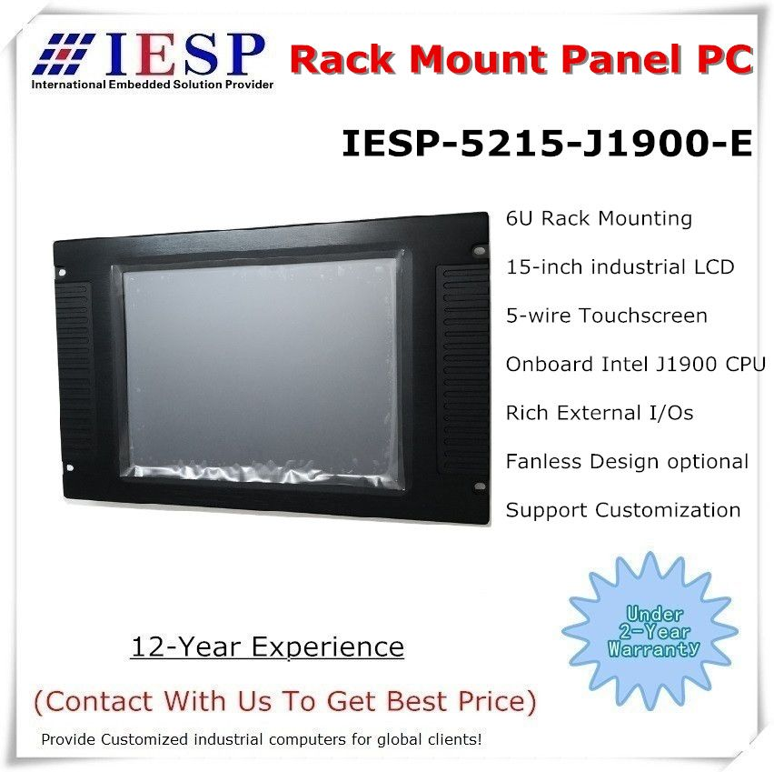 15 zoll rack mount industrie panel PC, J1900 CPU, 4 GB DDR3, 500 GB HDD, sonnenlicht lesbar LCD optional