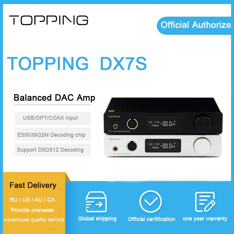 Topping DX7S balanced Headphone Amplifier ES9038Q2M 32Bit/768K XMOS(XU208)+OPA1612 USB/OPT/AES/COAX input DSD512 amp coupons