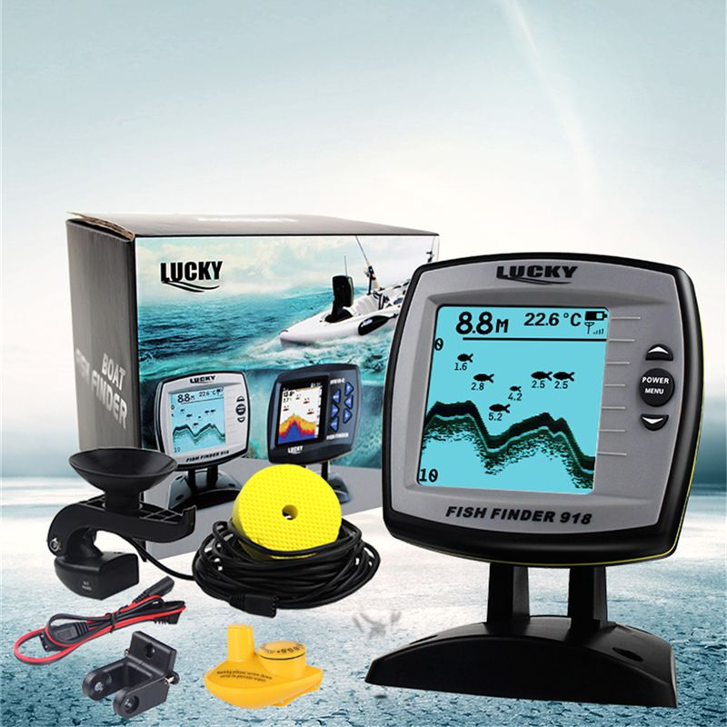 LUCKY Echo sounder fish finder 2-in-1 Wired & Wireless echo sounder 540ft/180m Depth Sounder Fish Detector Monitor FF918-180W