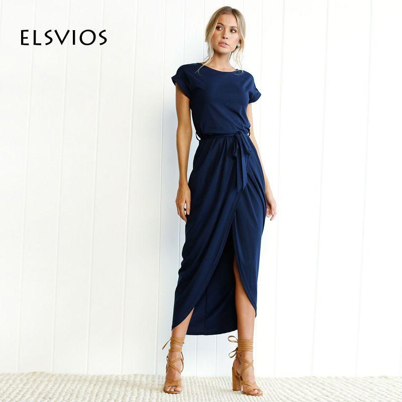 ELSVIOS 6 Colors Boho Split Long Dress Fashion Women O-Neck Maxi Dress Summer Short Sleeve Solid Dress With <font><b>Belt</b></font> Vestidos XS-3XL