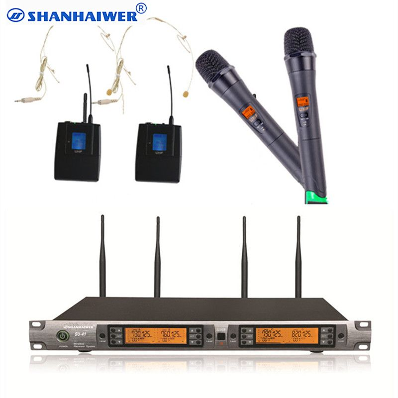 UHF Professional Instrument Wireless Microphone system with headset and handheld megaphone cordless meeting with LED display