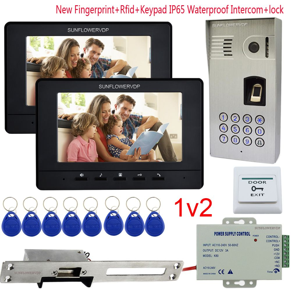 IP65 Waterproof Intercom Video Intercoms Fingerprint Rfid Keypad 2 Units 7