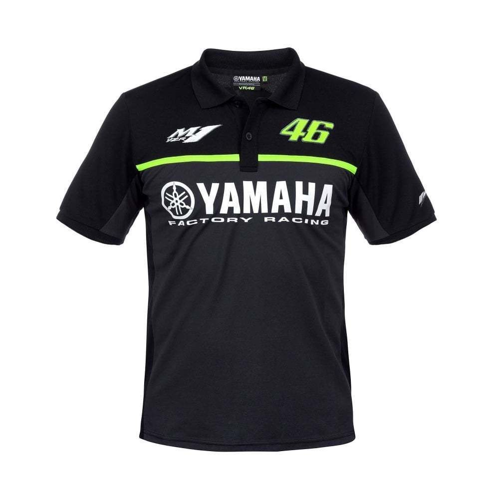 2017 Moto GP VR46 Valentino Rossi for Yamaha Team 46 Polo Shirt MENS The Doctor Black Cotton T-shirt