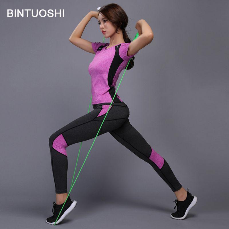 BINTUOSHI Women Yoga Set Gym Fitness Clothes Tennis Shirt+Pants Running Tight Jogging Workout Yoga Leggings Sport Suit plus size