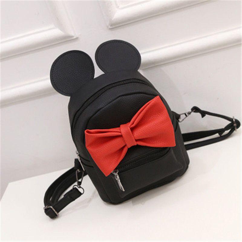 Mickey Mochila 2017 Nueva bolsa de cuero de LA PU de Las Mujeres Niñas Adolescentes Escuela mochilas Animales Lindos oídos Arco Dulce Salvaje Femenina Mickey bolsa