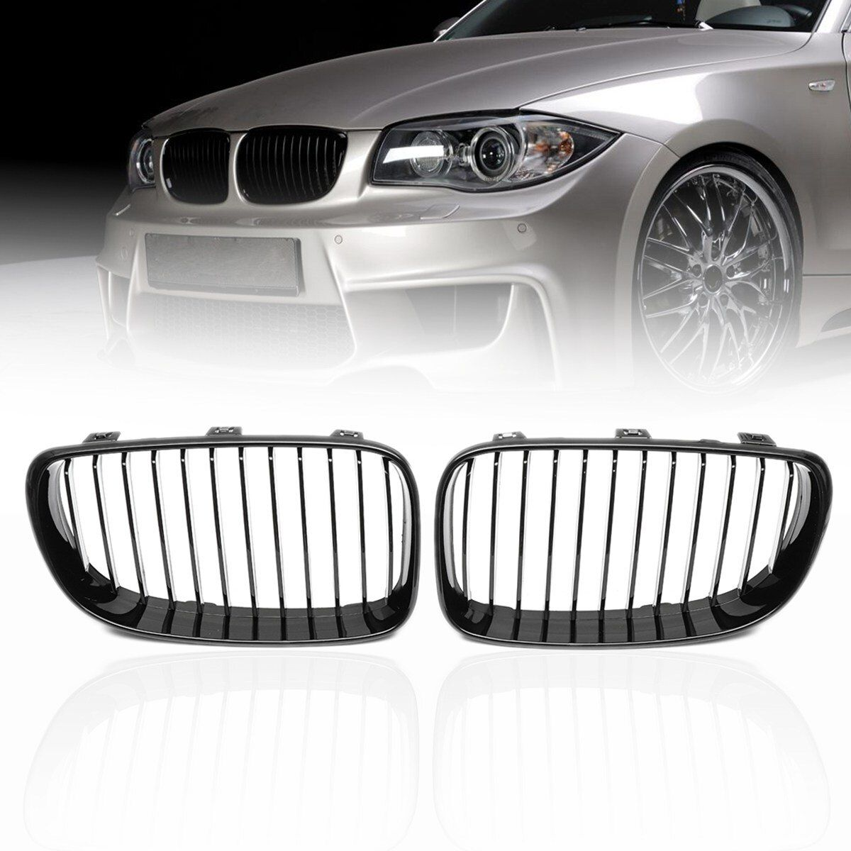 Pair ABS Side Matte Gloss Black Front Kidney Grilles For BMW 1 SERIES E81 E82 E87 E88 2d 4d 2007 2008 2009 2010 2011 2012 2013