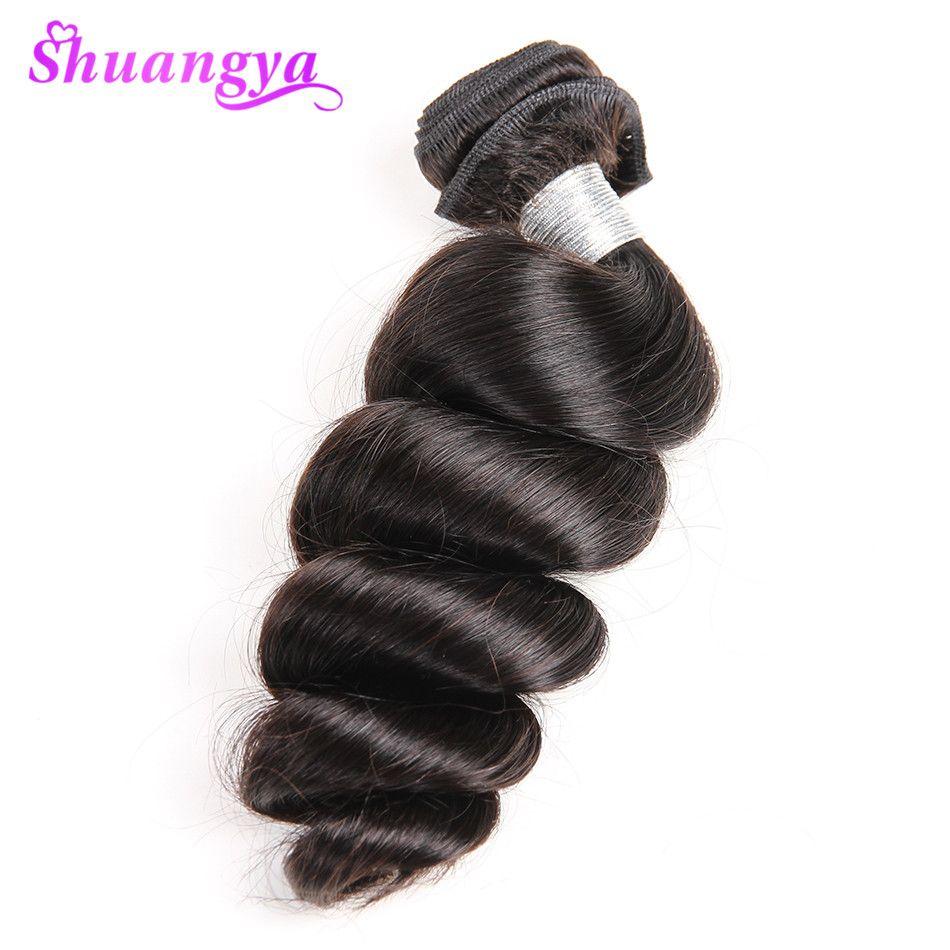 Shuangya Brasileña Suelta la Onda Del Pelo Humano Bundles 10-28 Pulgadas Armadura Del Pelo Bundles Color Natural Hair Weaving Extensión No Remy