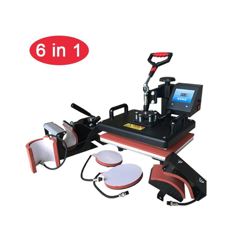 6 in 1 Combo Hitze Presse Maschine Sublimation Drucker Wärme Transfer Becher/Cap/t-shirt/Telefon fall /platte/Tasche/Puzzle/tuch Druck