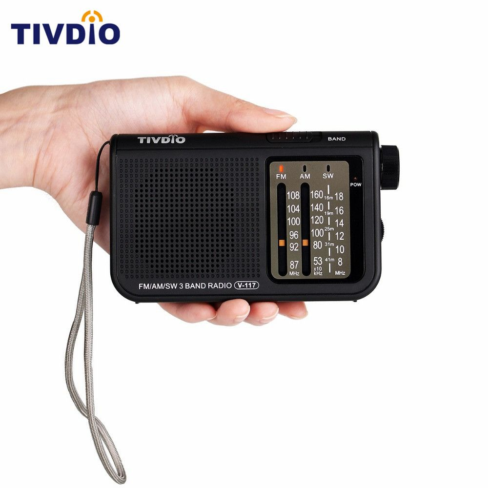 TIVDIO V-117 3 Band FM / AM / SW Radio <font><b>Battery</b></font> Powered Emergency Radio Receiver Portable Radio Station F9207A