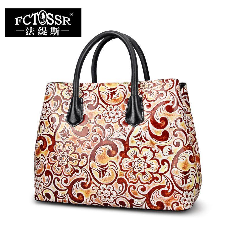 Frauen Tasche Handgefertigt Aus Echtem Leder Handtasche Hand Malen Blume Dame Umhängetasche Mode Kuh Haut Leder Schultertasche