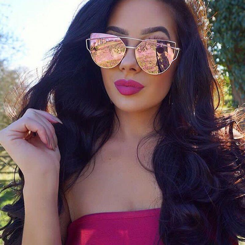 Neueste Katzenaugen-sonnenbrille Frauen Marke Designer Twin-Beams Sonnenbrille Spiegel Sonnenbrille Flachbildschirm Liebe Punch Klar Drop schiff