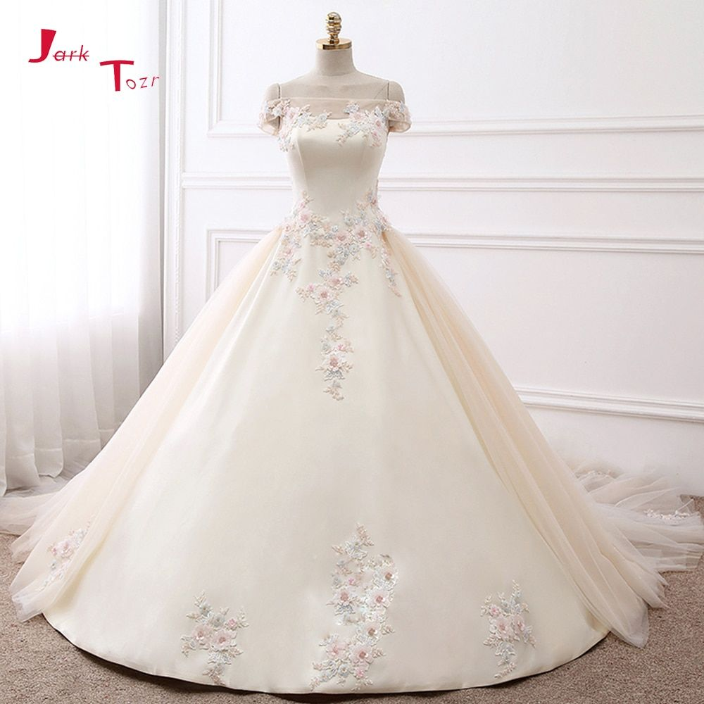 Jark Tozr 2018 New Arrive Boat Neck Short Sleeve Colorful Appliques Flowers Shiny Beading Crystal Satin Wedding Dress Casamento