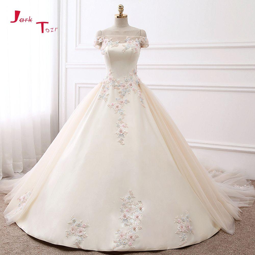 Jark Tozr 2018 New Arrive Boat Neck Short Sleeve Colorful Appliques Flowers Shiny Beading Crystal Satin Wedding Dress Casamento