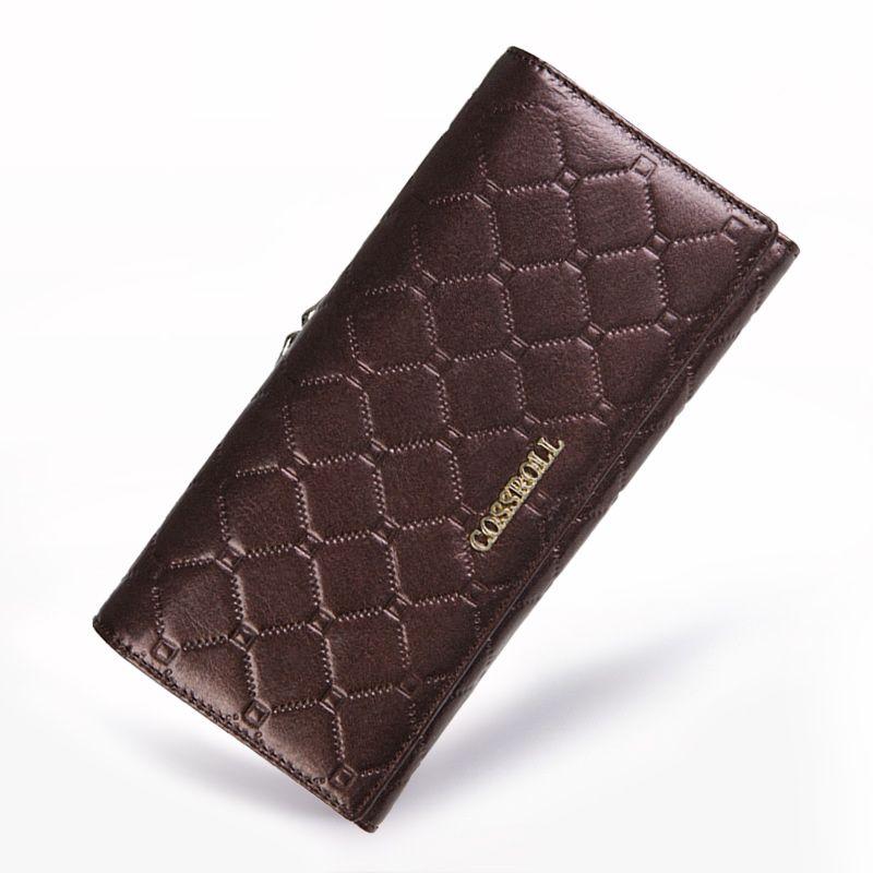 Frauen Brieftasche Vollrindleder Geldbörse Frauen Lange Plaid Geldbörsen Marke Designer Reißverschluss Haspe Kupplung Brieftasche Weibliche Kartenhalter