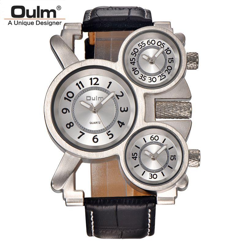Mens Montres Oulm Top Marque De Luxe Militaire Montre À Quartz Unique 3 Petits Cadrans Bracelet En Cuir Homme Montre-Bracelet Relojes Hombre