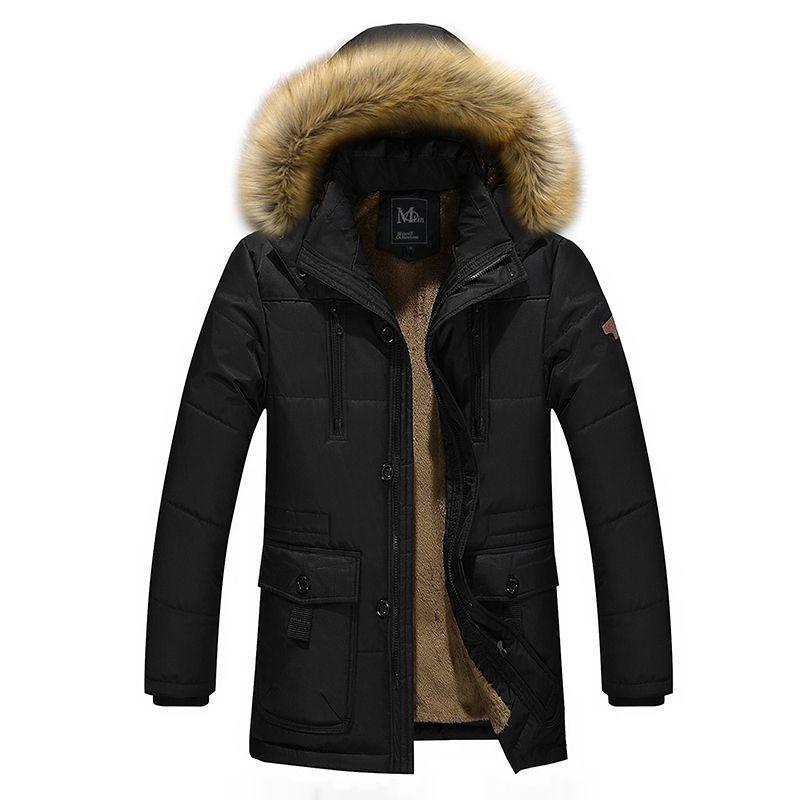 Зимняя куртка Мужская Утепленная тяжелый вес модные мужские длинные Куртки куртка с капюшоном мужская верхняя одежда плащ M-5XL Бесплатная д...