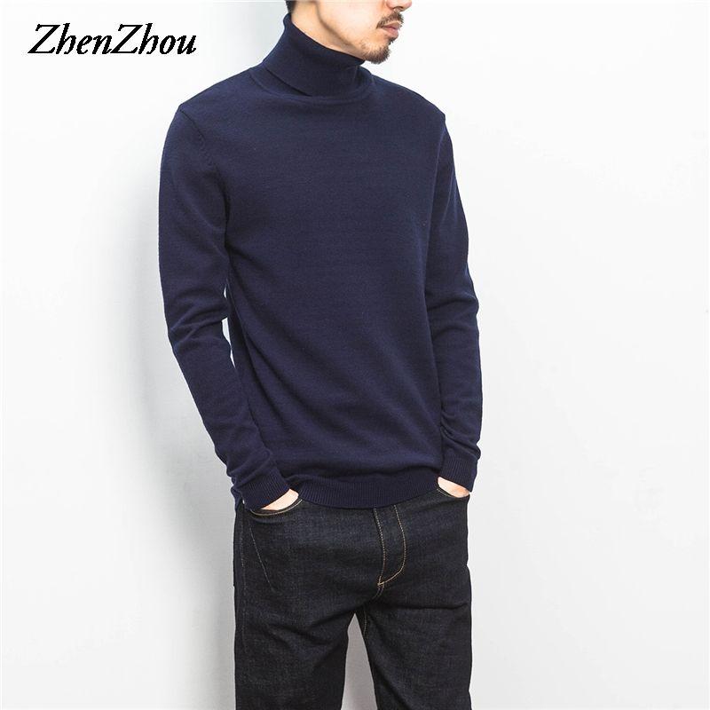 ZhenZhou Solid Slim Fit Pull Hommes Tricots Hommes Chandails 2018 M-5XL col roulé en tricot Mâle Chandail Hommes Vêtements