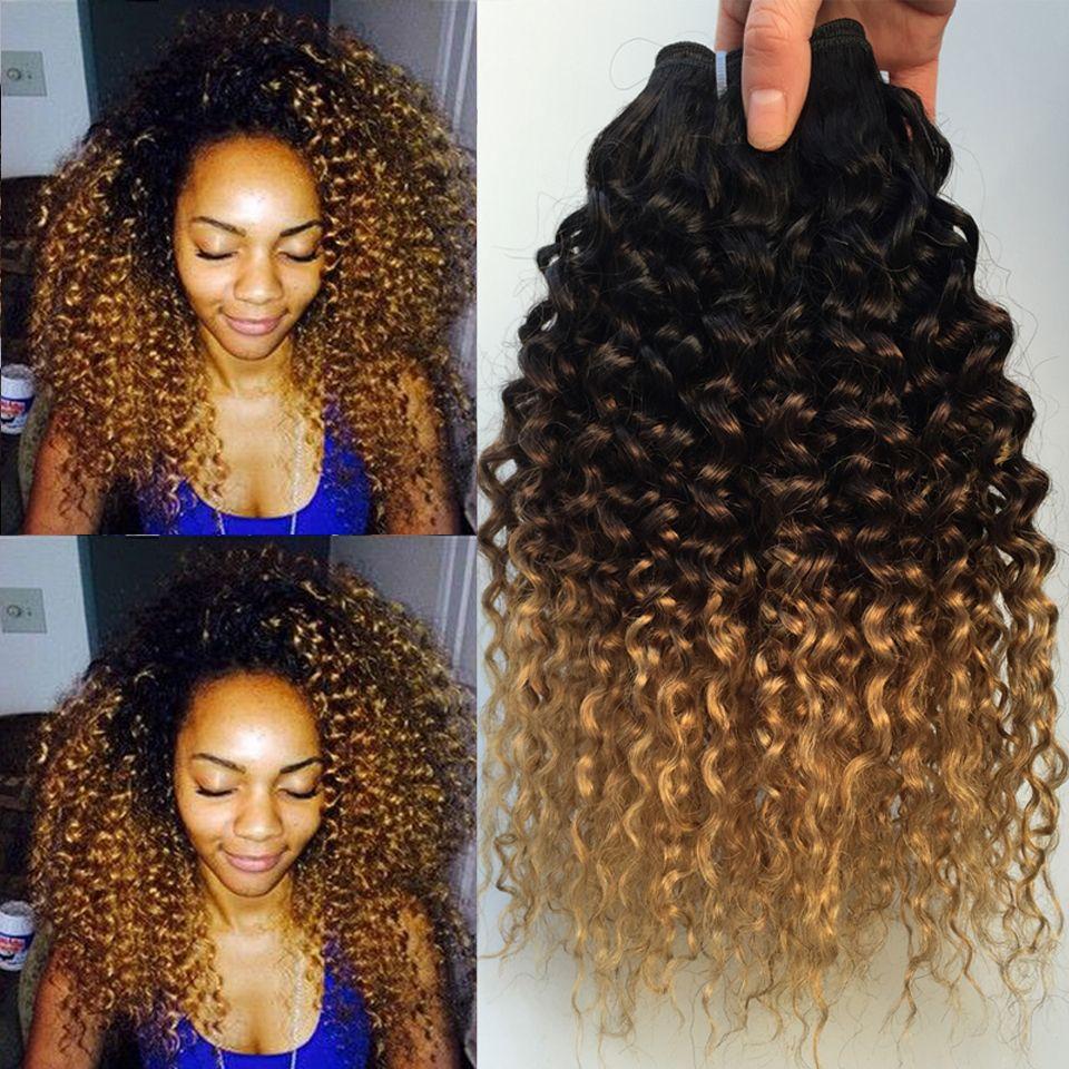 Cheveux bouclés crépus Ombre cheveux brésiliens armure de cheveux humains paquets 1B/4/27 Remy Afro Jerry Extensions de cheveux humains bouclés 1/3/4 paquets