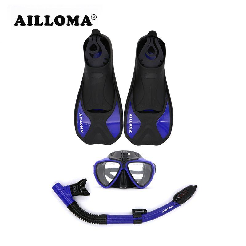 AILLOMA Anti-Fog Underwater Camera Scuba Diving Mask Snorkel Set Anti-skid Swimming Fins Flipper Full Dry Sports Breathing Tube