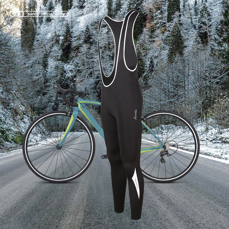 Santic Männer Radfahren Trägerhose 4D Polsterung Kissen Winter MTB Bike Cycling Bib Lange Hosen Warm Fleece Asiatische Größe M-3XL K7MC019
