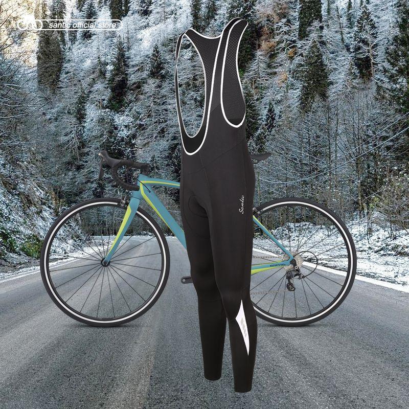 Santic Men Cycling Bib Pants 4D Padding Cushion Winter MTB Bike Cycling Bib Long Pants Warm Fleece Asian Size M-3XL K7MC019