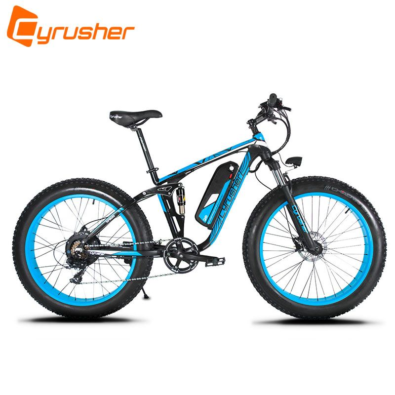 Cyrusher XF800 1000W 48V 50 KM/H Electric Bike Full Suspension 7 Speeds Fat Bike Hydraulic Disc Brake with Smart Computer Ebike
