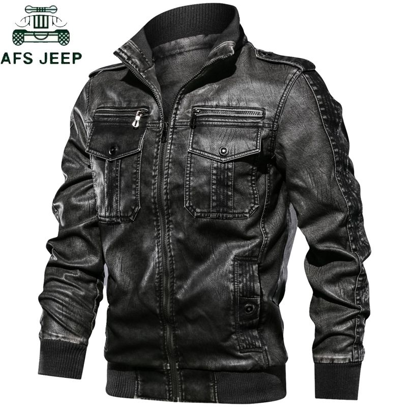 Military Army Mens Motorcycle Leather Jackets Coats Stand Collar Multi-pocket Pu Leather Coat European size S-XXL Dropshipping