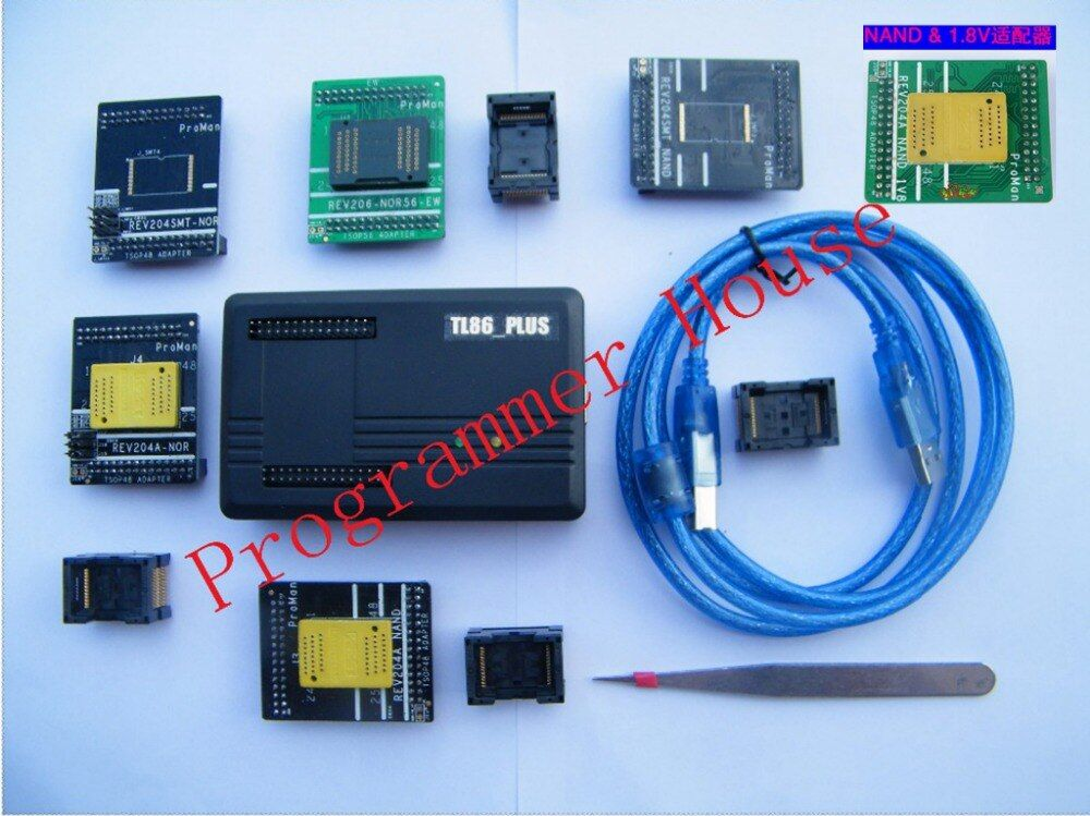 Proman tl86_Plus Professional nand nor programmer repair tool copy NAND FLASH data recovery+TSOP48&56 TSOP56 +V1.8adapter