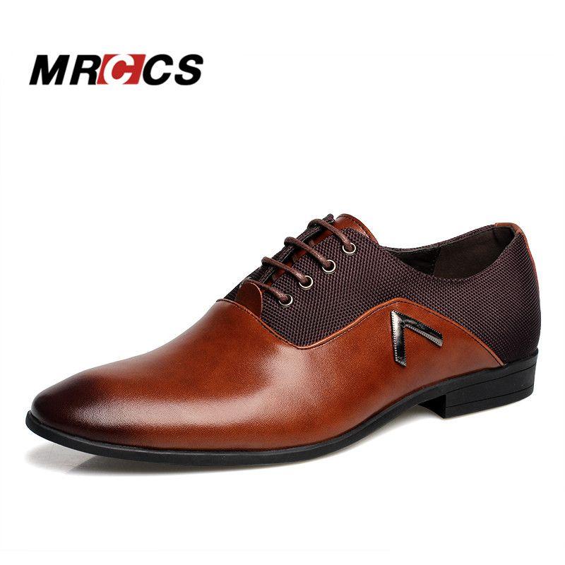 MRCCS <font><b>Pointed</b></font> Shoes Big Size 38-47 Business Men's Basic Casual Shoes,Black/Brown Leather Cloth Elegant Design Handsome Shoes