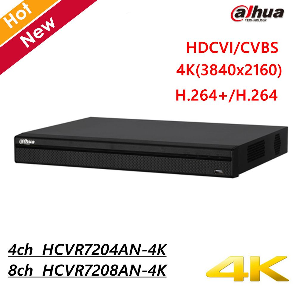 Dahua 4CH 8CH 4K HCVR7204AN-4K HCVR7208AN-4K H.264+ 4K Resolution Max 24/48Mbps Smart Search IP camera inputs up to 8MP