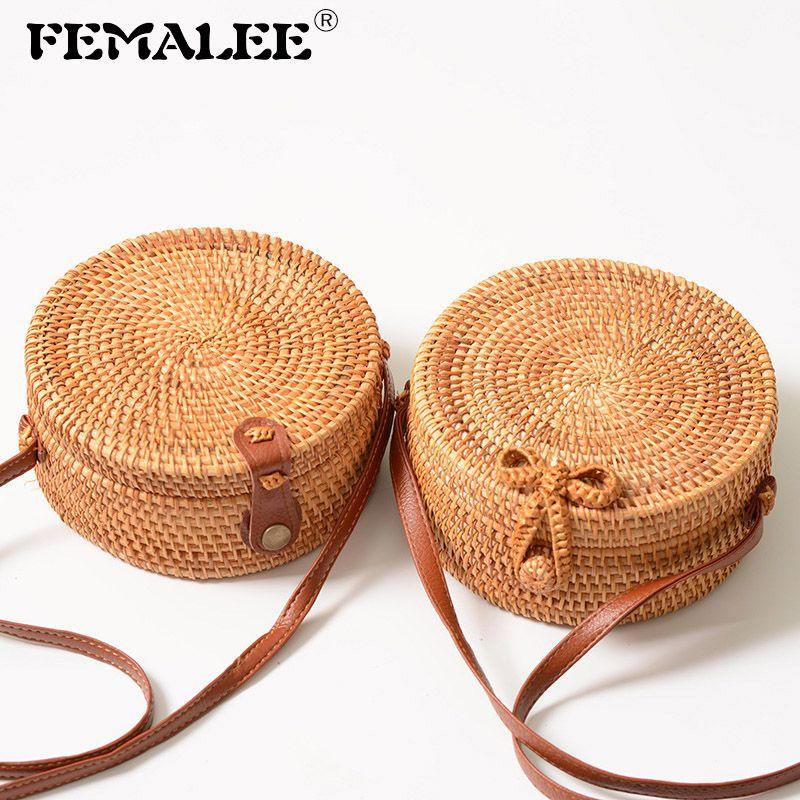FEMALEE circulaire décontracté Sac en rotin 2019 Ins Sac à Main d'été fait à la Main Bali plage épaule nœud sacs tissé bohème Sac à Main
