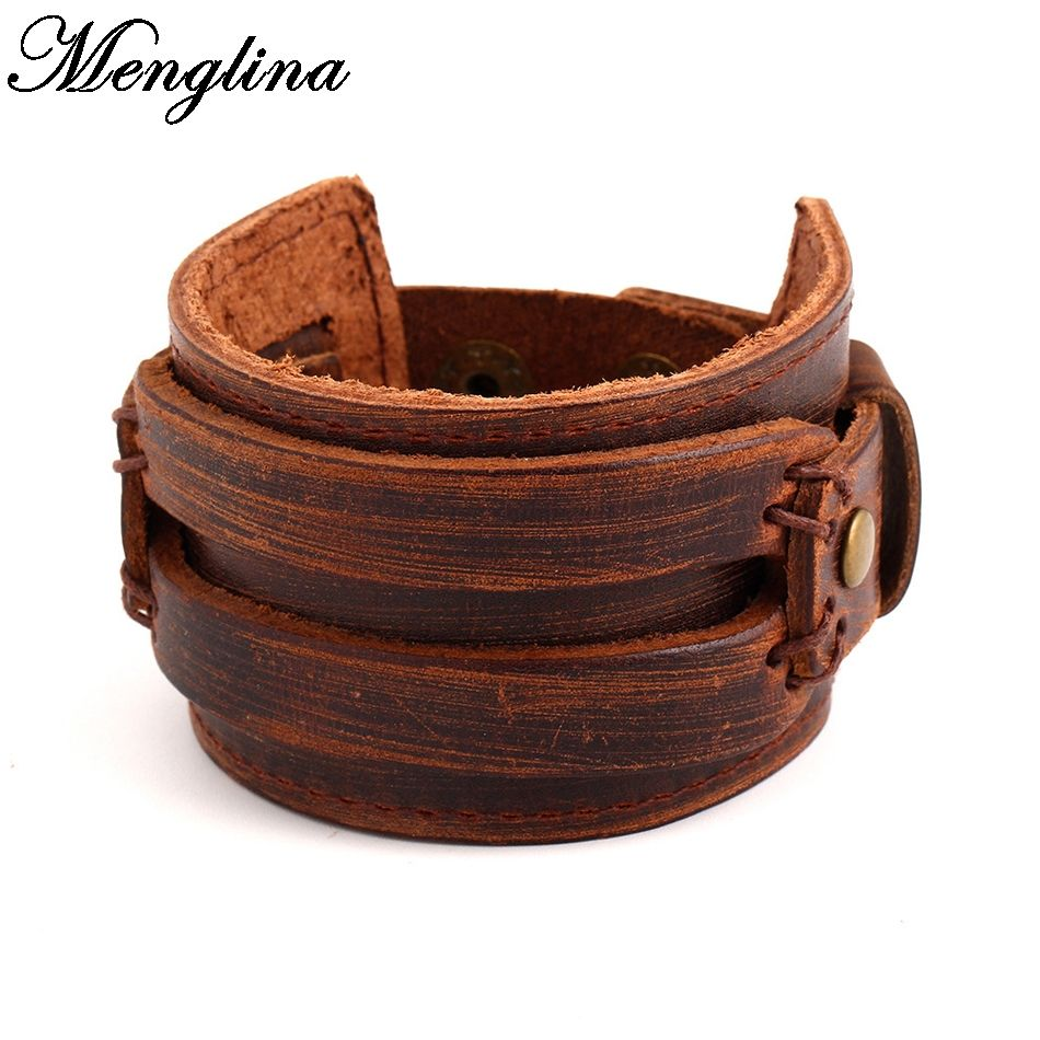 Menglina 2017 New Fashion Punk Wide Leather Bracelet Men Retro Braided Leather Bracelets Wristband For Women Jewelry 70509