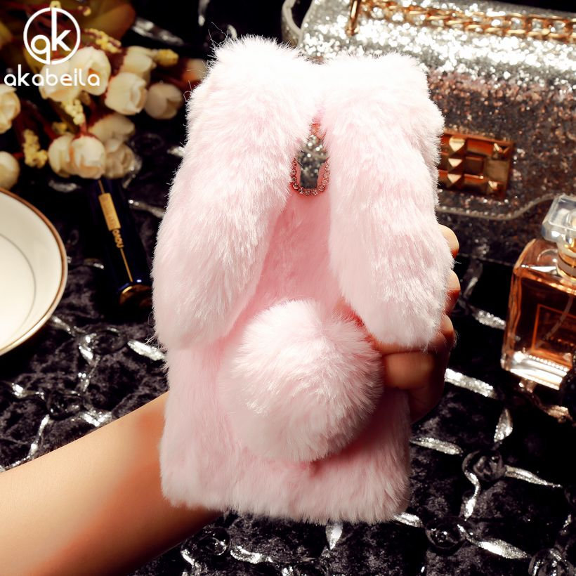 Rabbit Style Fluffy Warm Fur Silicone TPU Phone Shell For Meizu M3 Note Case Meilan Note 3 Meilan Note3 5.5 inch  Diamond Bag