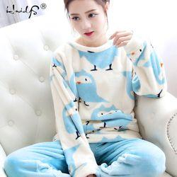 Осень и зима для женщин пижамные комплекты толстый теплый коралловый бархатный костюм фланель с длинным рукавом женский мультфильм Медвед...