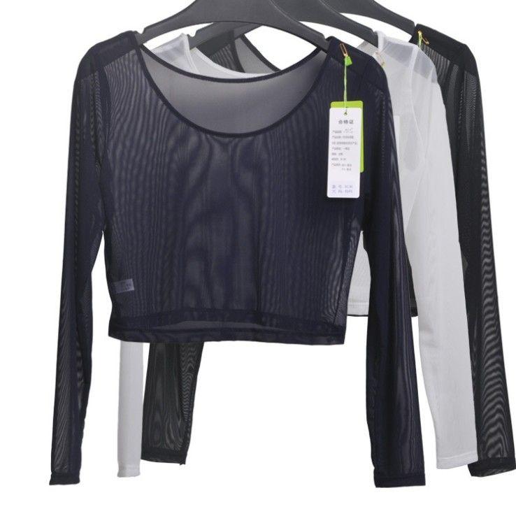 Для женщин пикантные тонкий полупрозрачный Mesh Crop Топы футболка с длинными рукавами для девочек укороченные стрейч-футболки футболки для же...