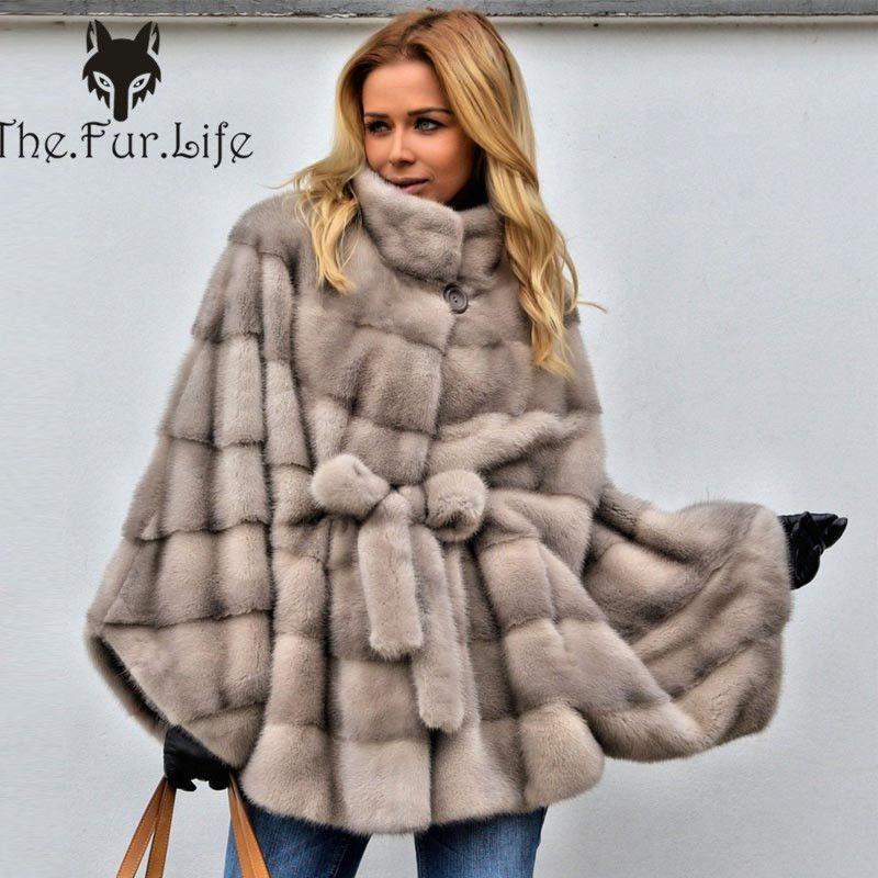 Big Sale Luxury Real Fur Coat Women Bat Sleeved With Stand Collar Full Pelt Fashion Mink Fur Jackets Female Mink Fur Coats
