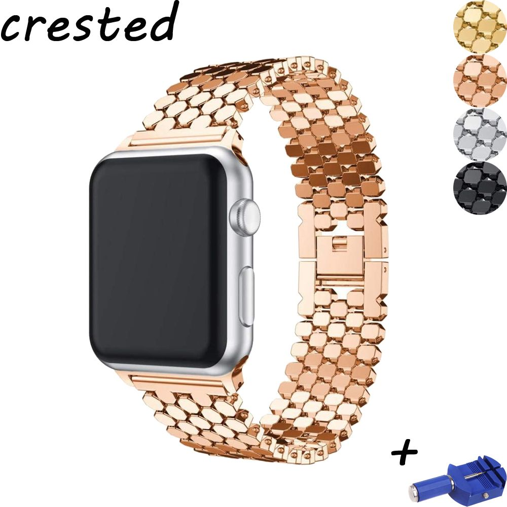 CRESTED link bracelet strap for apple watch band 42mm/38mm/44mm/40mm iwatch series 4/3/2/1 metal wrist belt clock watchband