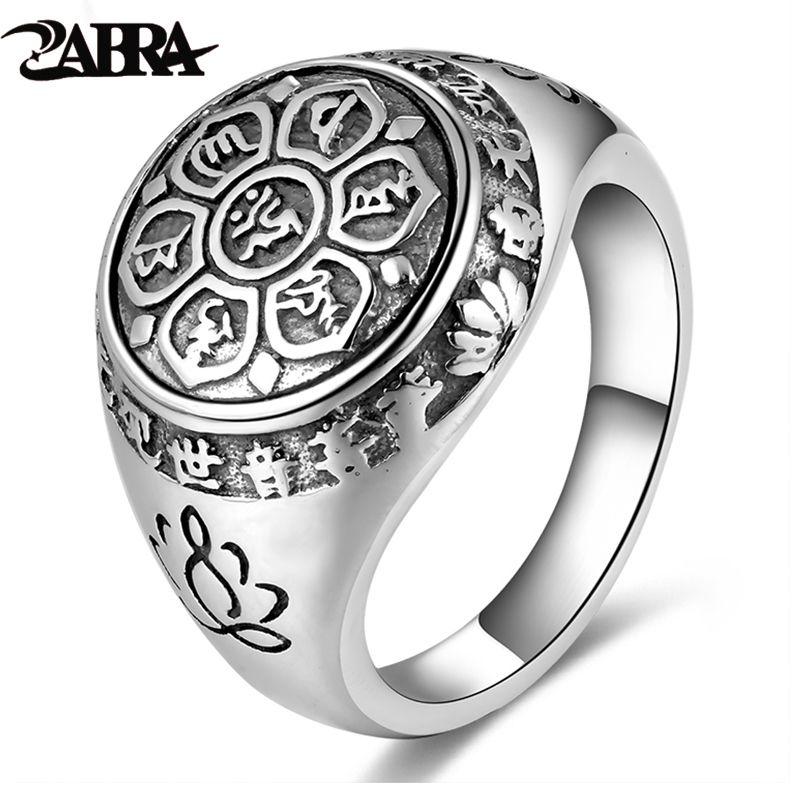 ZABRA Vintage Genuine 925 Sterling Silver Rings For Women Female Six Words Budda Mantra Biker Mens Signet Rings Male Jewelry