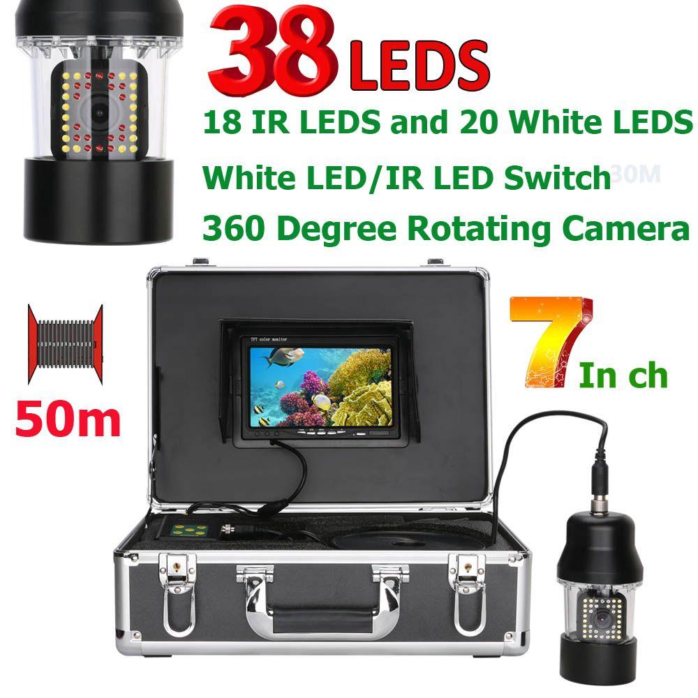 GAMWATER 7 Inch Underwater Fishing Video Camera Fish Finder 38 LEDs 360 Degree Rotating Camera 20m 50m 100m
