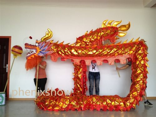 13m Length Size 5 Gold-plated 10 student Chinese DRAGON DANCE ORIGINAL Dragon Chinese Folk Spring Festival party Costume